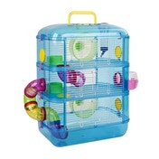 Hamster & Gerbil 3 Storey Cage With Tubes Between Tiers Blue New