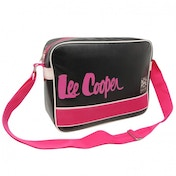 Lee Cooper Caine Flight Messenger Bag Black and Pink