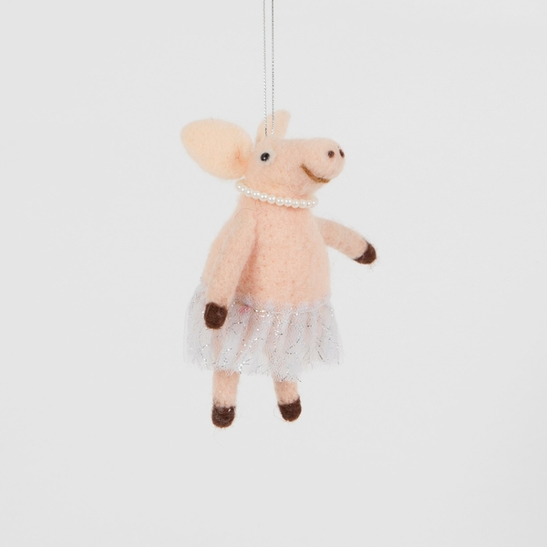 Sass & Belle Ballerina Pig Hanging Felt Decoration