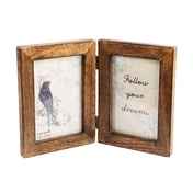 Sass & Belle Double Dark Wood Photo Frame