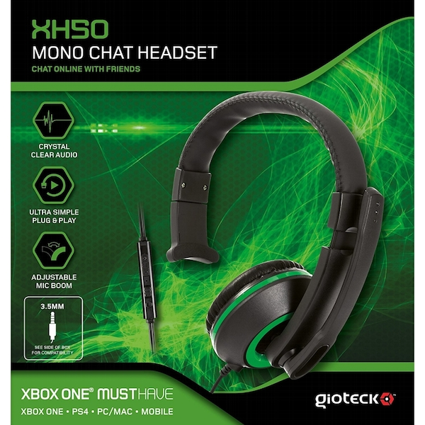Gioteck Xh50 Wired Mono Gaming Headset Green Ps4xbox Onepc