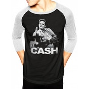 Johnny Cash - Finger Men's X-Large Baseball Shirt - Black
