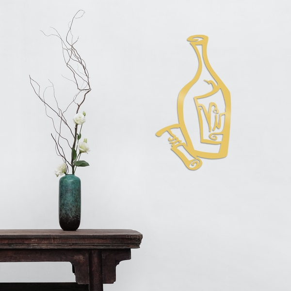 Wine - Gold Gold Decorative Metal Wall Accessory