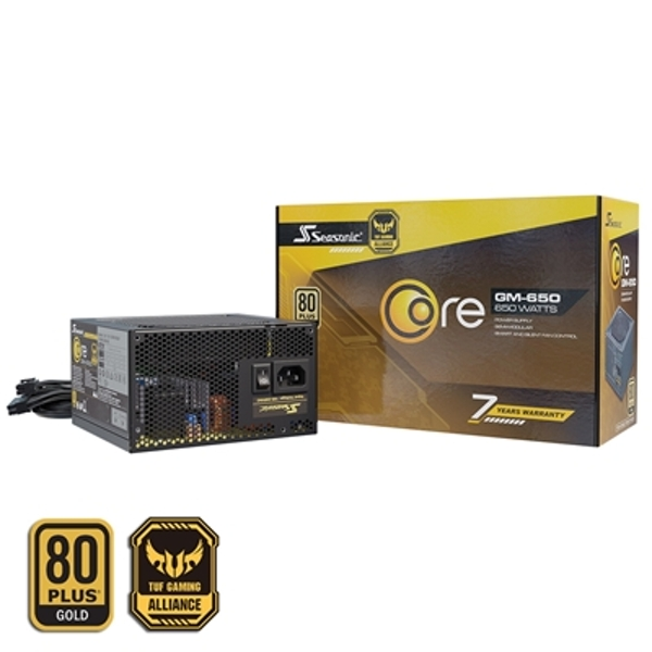 Seasonic Core GM 650W 120mm Sleeve Bearing Fan 80 PLUS Gold Semi Modular PSU UK Plug