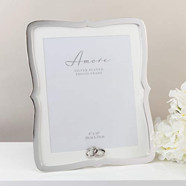 """8"""" x 10"""" - AMORE BY JULIANA? Silver Frame with Crystal Rings"""