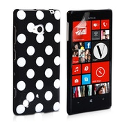 YouSave Accessories Nokia Lumia 720 Polka Dot Silicone Gel Case - Black