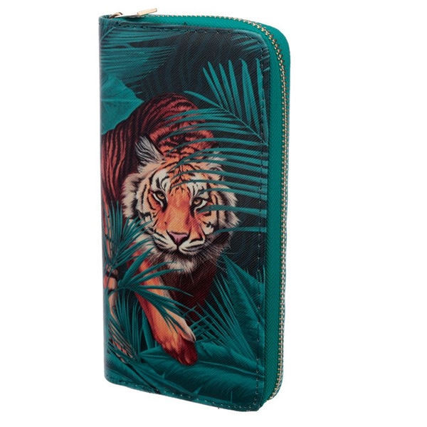 Spots and Stripes Big Cat Zip Around Large Wallet Purse