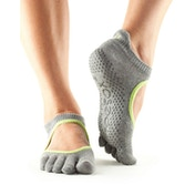 Toesox Bellarina Full Toe Non Slip Socks Heather Grey - Large 9-11