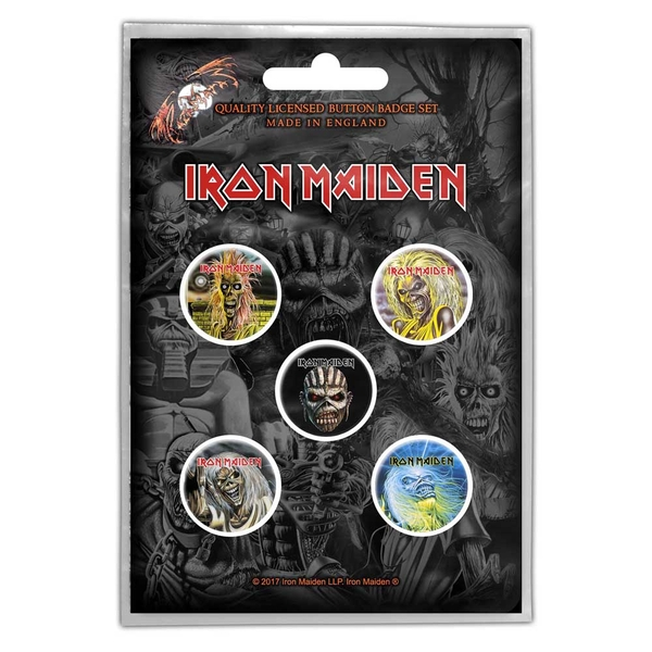 Iron Maiden - The Faces of Eddie Button Badge Pack