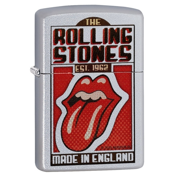 Zippo Rolling Stones Made In England Satin Chrome Regular Lighter
