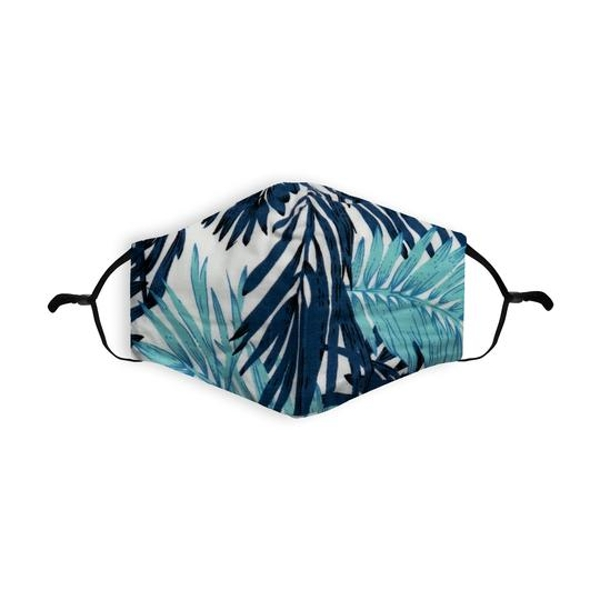 Blue Palm Printed 100% Cotton Face Mask