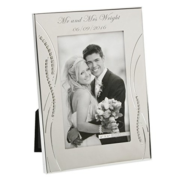 """4"""" x 6"""" - Silver Plated Wedding Photo Frame with Crystals"""