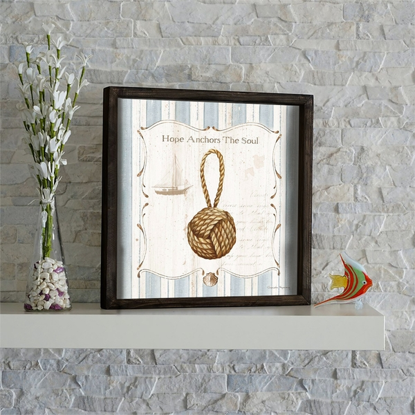 KZM576 Brown Blue White Decorative Framed MDF Painting