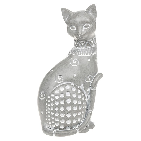 Country Grey Sitting Cat Large Ornament