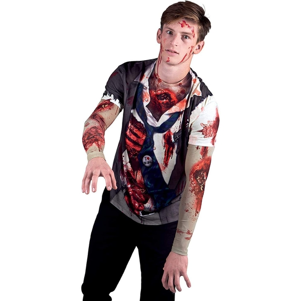 Zombie With Mesh Sleeves Costume Medium