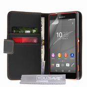 YouSave Accessories Sony Xperia Z4 Compact Leather-Effect Wallet Case - Black