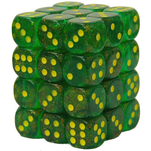 12mm d6 Dice Block: Borealis Maple Green/yellow