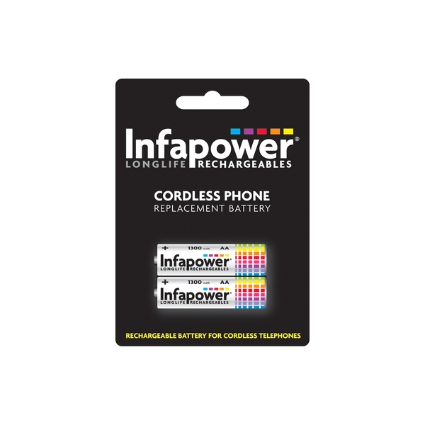 Infapower Rechargeable Ni-MH Battery for Cordless Telephones 2 x AA 1.2v 1300mAh
