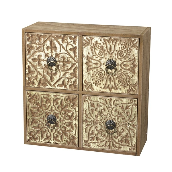 Square Gold And Wooden Drawers By Heaven Sends