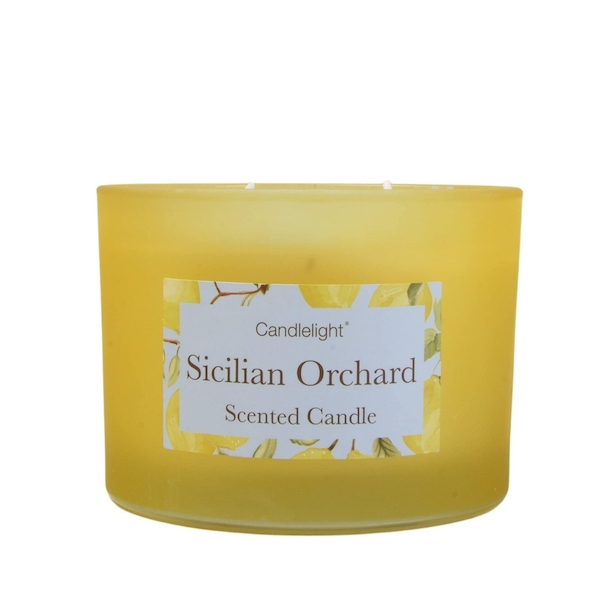 Sicilian Orchard 2 Wick glass filled Pot Candle Basil and Wild Lemon Scent