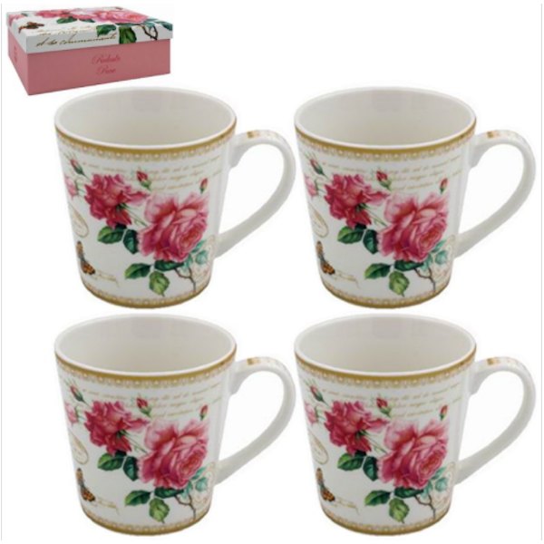 Redoute Rose Mugs Set Of 4 By Lesser & Pavey