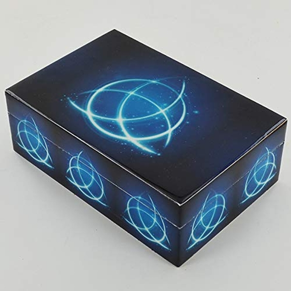 Celtic Triquetra Blue Fire Box Wooden Storage Box