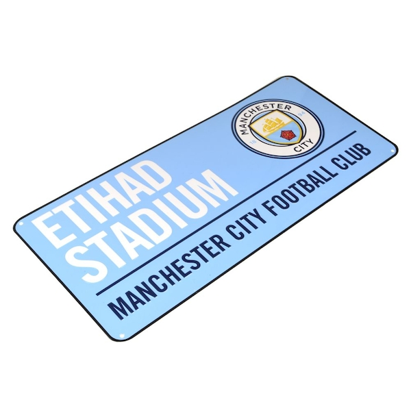 Man City Colour Metal Street Sign New Crest