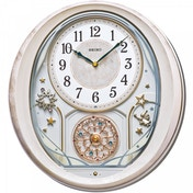 Seiko QXM370P Melody in Motion Wall Clock with Pink Marble Case