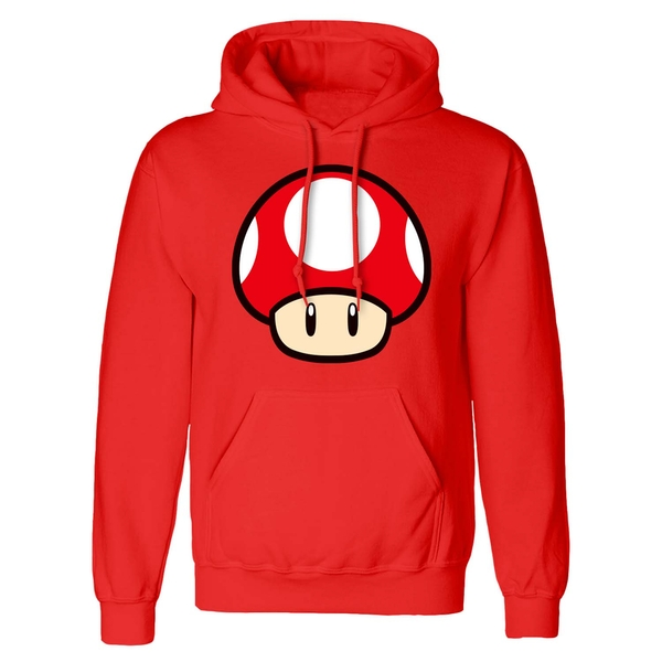 Super Mario - Power Up Mushroom Unisex XX-Large Hooded Sweatshirt Pullover - Red