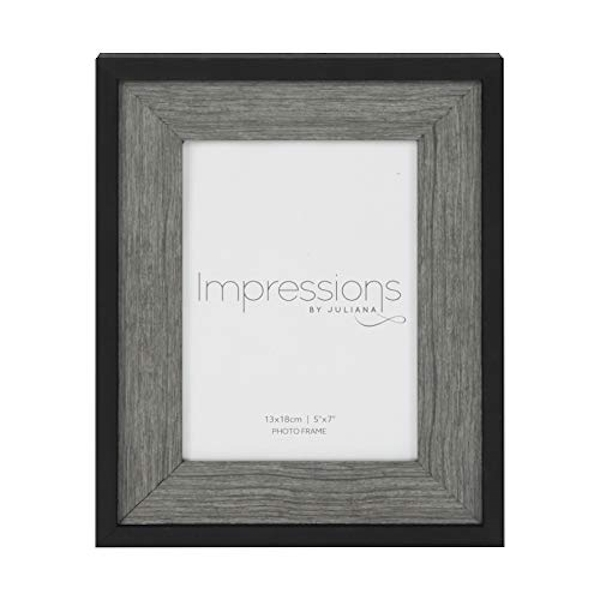 "5"" x 7"" - Impressions Plastic Black Photo Frame Deep Border"
