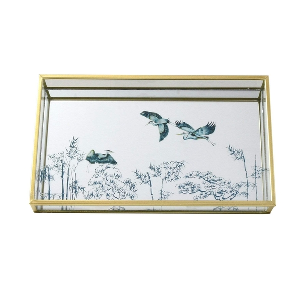 Mirrored Glass Tray in Gold with Oriental Heron Design