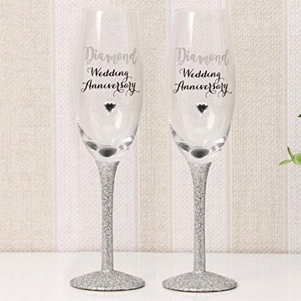 Celebrations Champagne Flutes Set of 2 - Diamond Anniversary