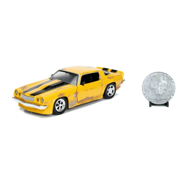 Hasbro - Transformers Hollywood Rides Bumblebee 1977 Chevy Camaro Die-cast Vehicle with Collector Coin