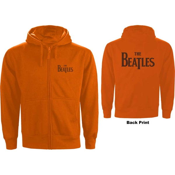 The Beatles - Drop T Logo Men's XXX-Large Zipped Hoodie - Orange