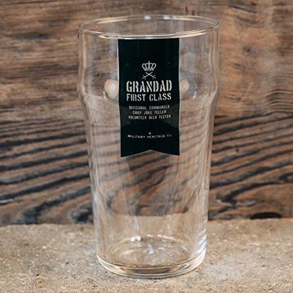 Military Heritage Beer Glass - Grandad First Class