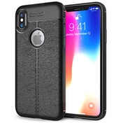 iPhone X Auto Camera Focus Leather Effect Gel Case - Black