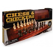 Classic Deluxe Wood Chess & Checkers Black & Gold Board Game