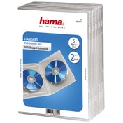 Hama Standard DVD Double Jewel Case, pack of 5, transparent