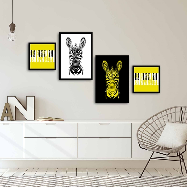 4PSCT-01 Multicolor Decorative Framed MDF Painting (4 Pieces)