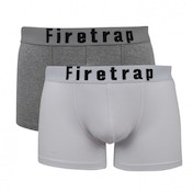 Firetrap 2 Pack Mens Trunk Boxer Shorts White & Grey Medium