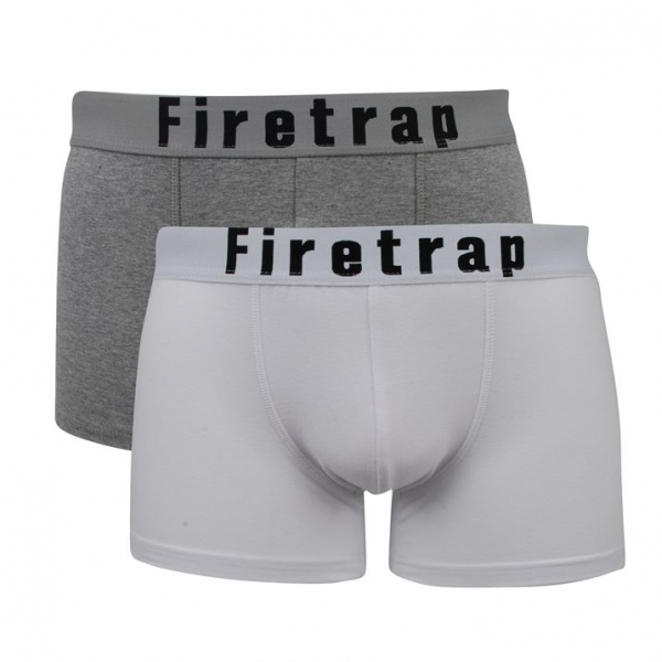 9c5a741e4c74 Firetrap 2 Pack Mens Trunk Boxer Shorts White & Grey Medium ...