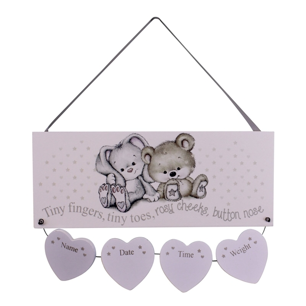 Neutral New Baby Birth Details Plaque
