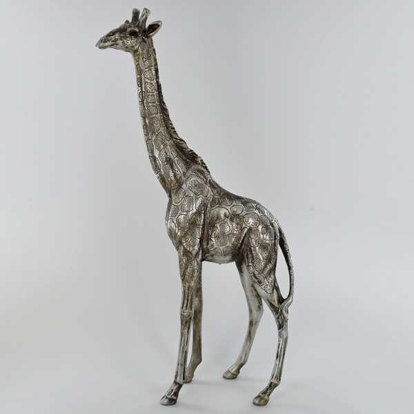 Antique Silver Large Standing Giraffe Ornament
