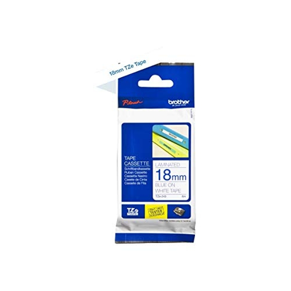 Brother TZe-243 Labelling Tape Cassette, 18 mm (W) x 8 m (L), Laminated, Brother Genuine Supplies - Blue on White