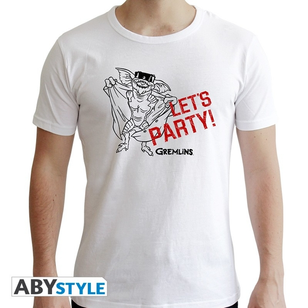 """Gremlins - """"Let's Party"""" Mens XS SS T-Shirt - White - New Fit"""