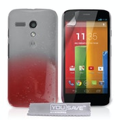 YouSave Accessories Motorola Moto G Raindrop Hard Case - Red-Clear