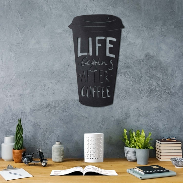 Coffee Cup Black Decorative Metal Wall Accessory