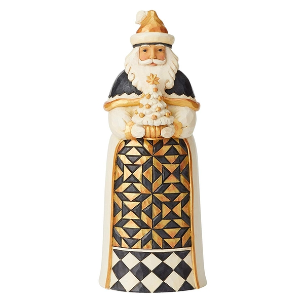 Give From The Heart Black and Gold Santa Figurine