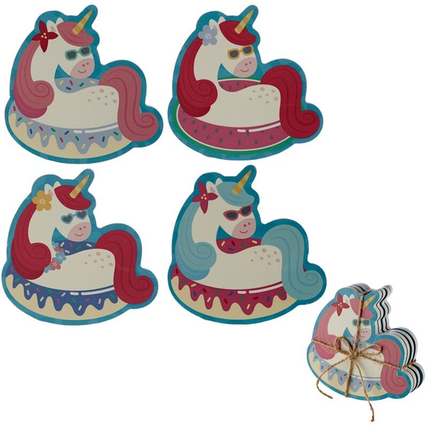 Vacation Vibes Unicorn Set of 4 Novelty Coasters