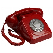 GPO 746 Push Button Retro Telephone with Authentic Bell Ring Red